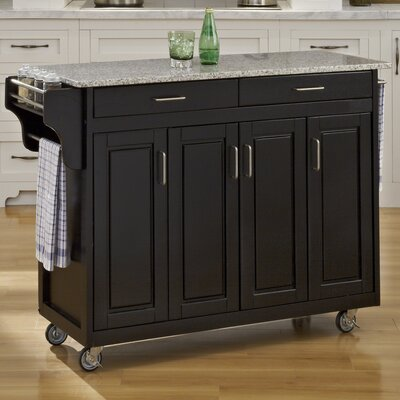 home styles create a cart kitchen cart with granite top base finish
