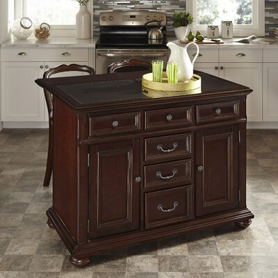 Furniture-Colonial Classic Kitchen Island with Granite Top
