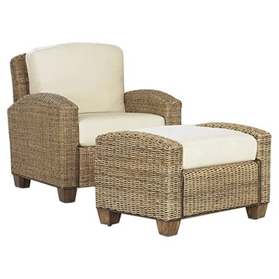 Cabana Banana Cotton Armchair with Ottoman Finish: Honey