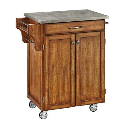 Cuisine Cart Kitchen Cart with Concrete Top Base Finish: Oak