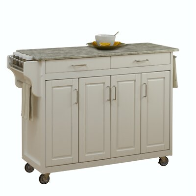 Create-a-Cart Kitchen Island with Concrete Top Base Finish: White