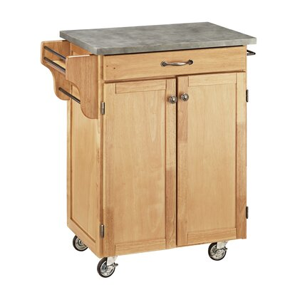 Cuisine Cart Kitchen Cart with Concrete Top Base Finish: Natural