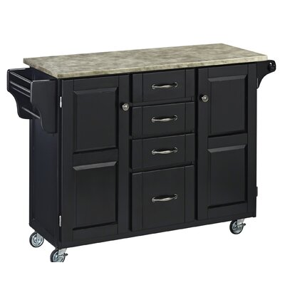 Create-a-Cart Kitchen Island with Concrete Top Base Finish: Black