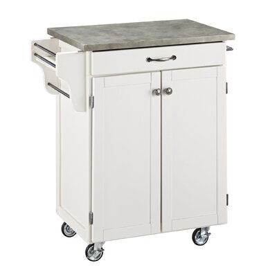 Cuisine Cart Kitchen Cart with Concrete Top Base Finish: White