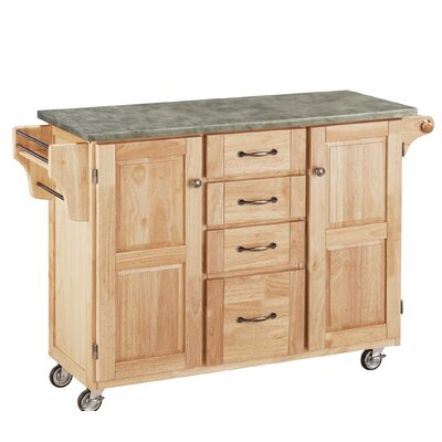 Create-a-Cart Kitchen Island with Concrete Top Base Finish: Natural