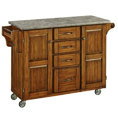 Create-a-Cart Kitchen Island with Concrete Top Base Finish: Oak