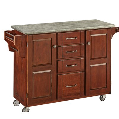 Create-a-Cart Kitchen Island with Concrete Top Base Finish: Cherry