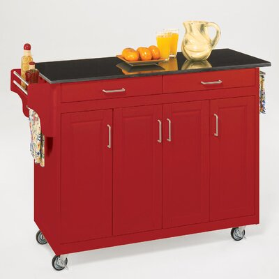 Home styles create a cart red kitchen cart with black granite top jpg