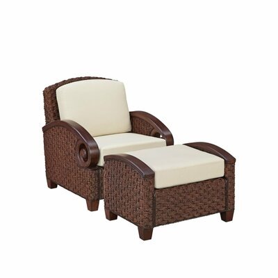 Cabana Banana III Armchair with Ottoman Color: Cinnamon