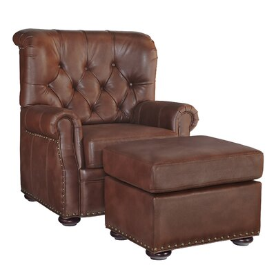 Stationary Club Chair And Ottoman Upholstery: Saddle Brown