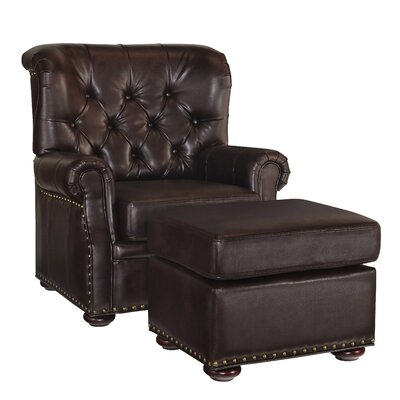 Stationary Club Chair And Ottoman Color: Cocoa Brown
