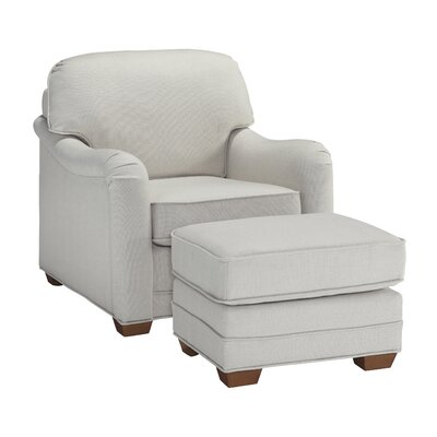 Stationary Armchair and Ottoman Upholstery: Off white