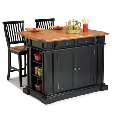 Home Styles Kitchen Island in Black and Natural Top With Two Barstools - Kitchen Island - Portable Kitchen Islands Shop