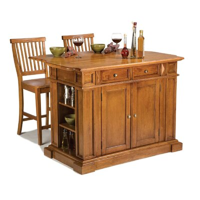 Home Styles Kitchen Island in Cottage Oak With Two Barstools - Kitchen Island - Portable Kitchen Islands Shop