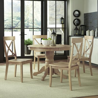 5 Piece Dining Set Finish: White Wash