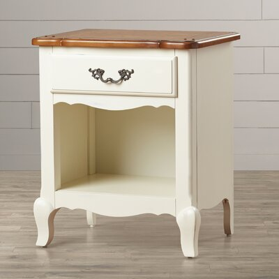 French Countryside 1 Drawer Nightstand Finish: White