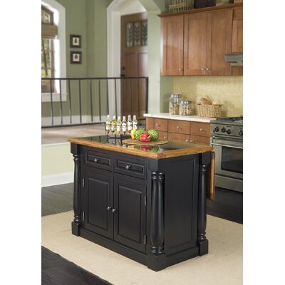 Cheap Home Styles Monarch Kitchen Island with Roll Out Leg & Wood Top, with Granite Insert (HO2314)