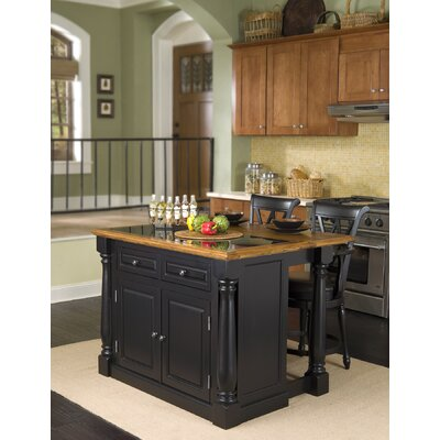 Cheap Home Styles Monarch Kitchen Island with Granite Insert and Traditional Barstools (HO2323)