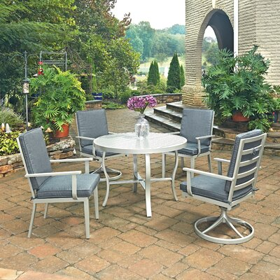 South Beach 5 Piece Dining Set with Cushion Table Size: 42 W x 42 D