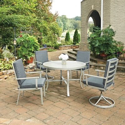 South Beach 5 Piece Dining Set with Cushion Table Size: 48 W x 48 D