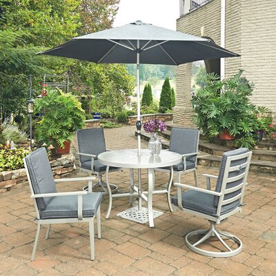 South Beach 7 Piece Dining Set with Cushion Table Size: 42 W x 42 D