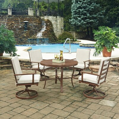 Key West 5 Piece Dining Set with Cushion Table Size: 42 W x 42 D