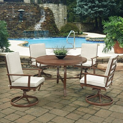 Key West 5 Piece Dining Set with Cushion Table Size: 48 W x 48 D