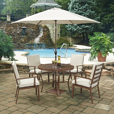 Key West 7 Piece Dining Set with Cushion Table Size: 42 W x 42 D