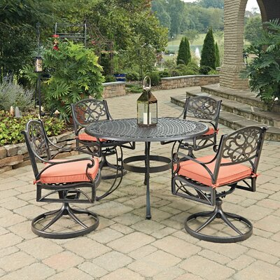 Biscayne 5 Piece Dining Set with Cushion Finish: Bronze