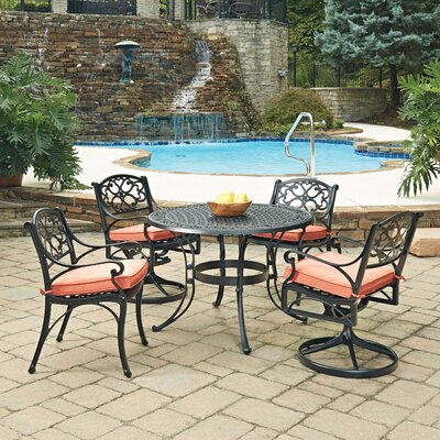 Biscayne 5 Piece Dining Set with Cushion Finish: Black