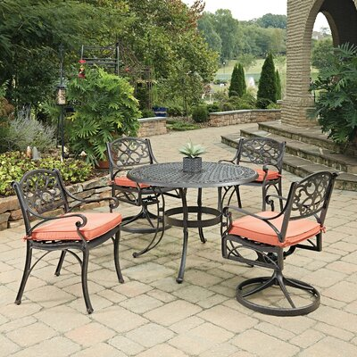 Biscayne 5 Piece Dining Set with Cushion Finish: Rust Bronze