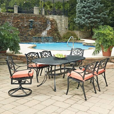 Biscayne Oval 7 Piece Dining Set with Cushion Finish: Black