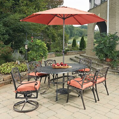 Biscayne Oval 9 Dining Set with Cushion Finish: Rust Bronze