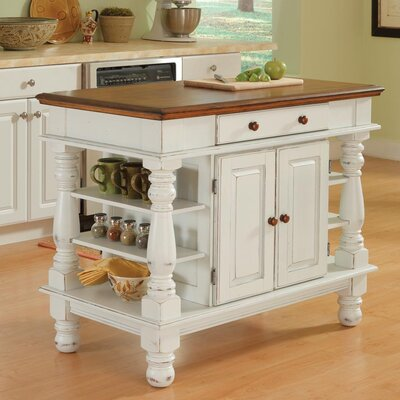 Home Styles Americana Kitchen Island in Antiqued White Sanded and Distressed Oak - Kitchen Island - Portable Kitchen Islands Shop
