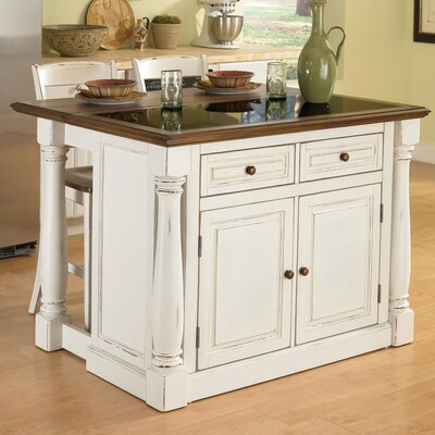 Shyanne Kitchen Island Set with Granite Top