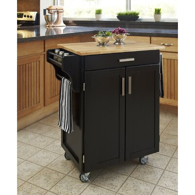 Home Styles Black Kitchen Cart with Wood Top at Sears.com