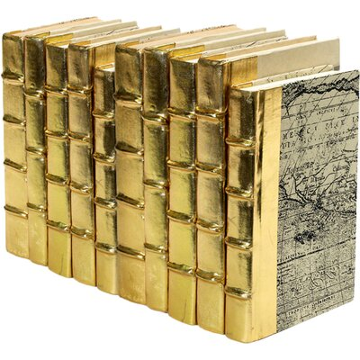 10 Piece Metallic Decorative Book Set