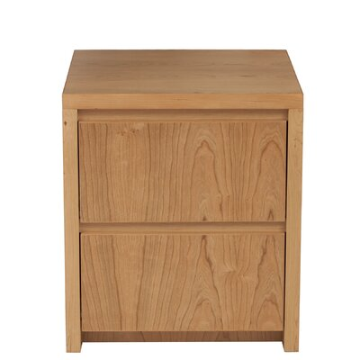 Thompson 2 Drawer Nightstand Wood Veneer: Cherry, Finish: Clear