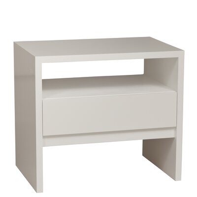 Thompson 1 Drawer Nightstand Color: Clear, Wood Veneer: Maple