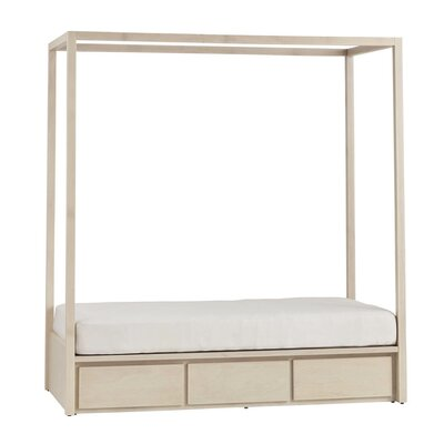 Kandice Twin Storage Canopy Bed without Headboard Bed Frame Color: Maple Unfinished
