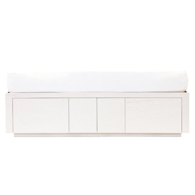 Kareem Twin Storage Platform Bed with High Double Drawer & Doors Bed Frame Color: MDF White