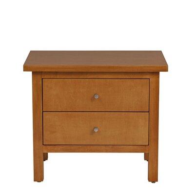 Hudson 2 Drawer Nightstand Wood Veneer: Cherry, Finish: Autumn