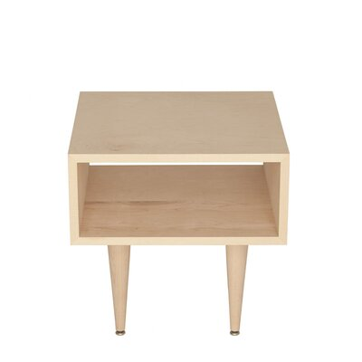 Midcentury End Table Wood Veneer: Painted Eco-MDF, Color: White