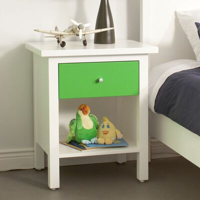 Hudson 1 Drawer Nightstand Wood Veneer: Cherry, Finish: Clear