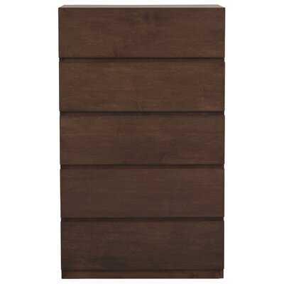 Urban Basics 5 Drawer Chest Wood Veneer: Maple, Color: Espresso