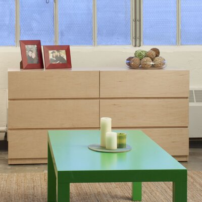 Urban Basics 6 Drawer Dresser Wood Veneer: Maple, Color: Amber