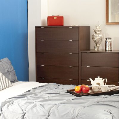 High Line 5 Drawer Chest Wood Veneer: Cherry, Color: Clear