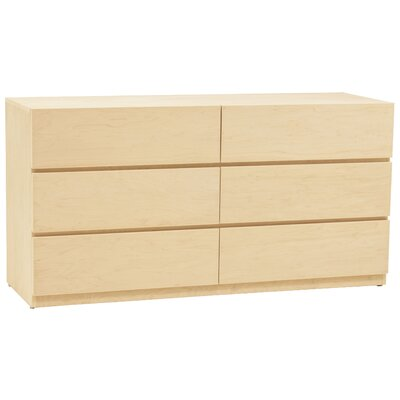 Urban Basics 6 Drawer Dresser Wood Veneer: Maple, Color: Unfinished