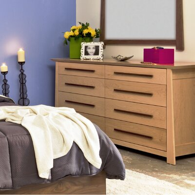 Hamilton 8 Drawer Dresser Wood Veneer: Walnut, Color: Clear