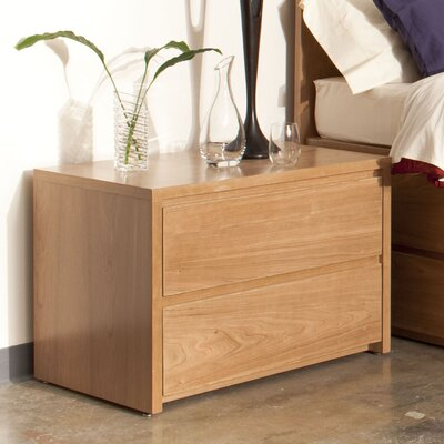 Thompson 2 Drawer Dresser Wood Veneer: Maple, Finish: Ebony